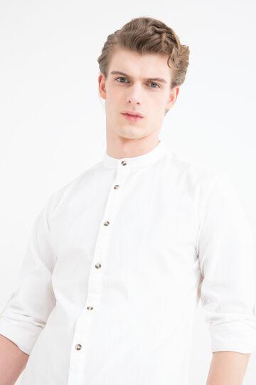 Camicia cotone colletto alla coreana, Bianco, hi-res