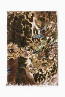 Patterned scarf in contrasting colour, Brown, hi-res