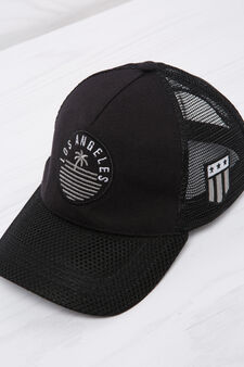 Cappello da baseball con patch, Nero, hi-res