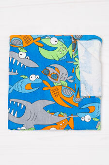 Cotton beach towel with fish pattern, Blue, hi-res