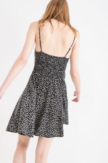 Sleeveless short dress in 100% viscose, Black, hi-res