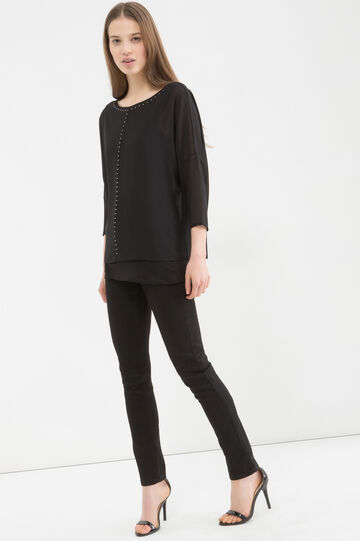 Diamanté blouse, Black, hi-res