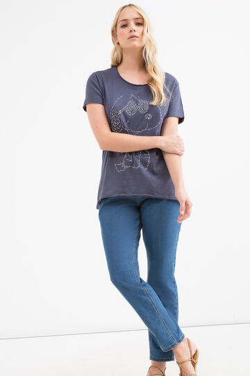 Curvy cotton blend Snoopy T-shirt, Navy Blue, hi-res