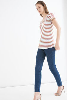V-neck cotton T-shirt, White/Brown, hi-res