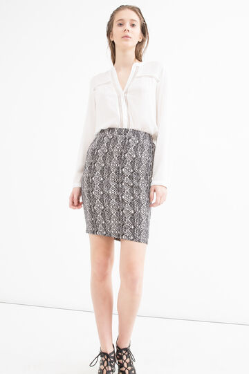 Patterned stretch pencil skirt, Black/White, hi-res