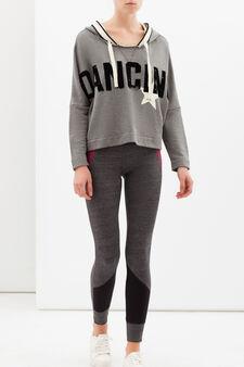 Crop top sports hoodie, Light Grey, hi-res