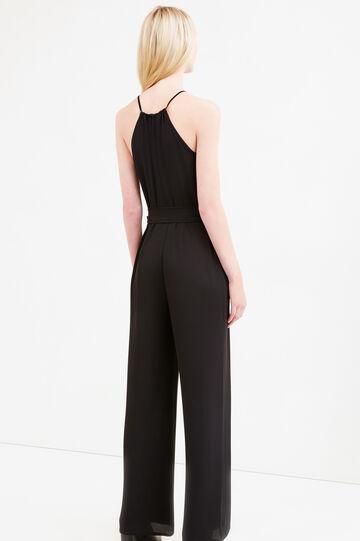 Sleeveless jumpsuit with tie, Black, hi-res