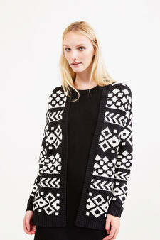 Patterned knitted cardigan, Black/White, hi-res