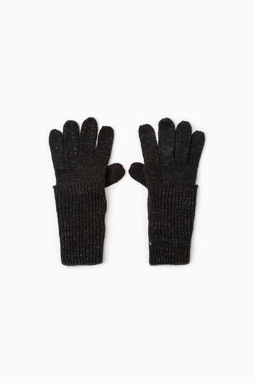Long knit gloves, Black, hi-res