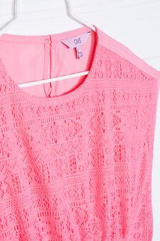 Solid colour openwork blouse, Peach Orange, hi-res