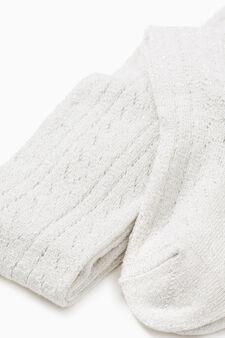 Collant tricot tinta unita cotone, Bianco panna, hi-res
