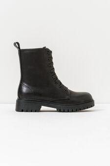 Solid colour lace-up waterproof shoes, Black, hi-res