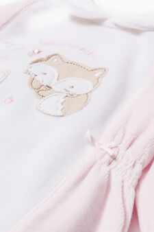 Onesie with round collar and feet, Pink, hi-res