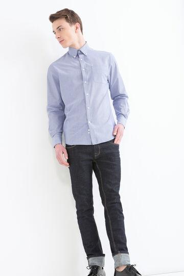 Camicia rigata regular fit, Blu, hi-res
