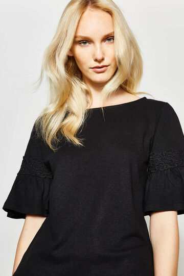 Linen and cotton T-shirt with lace