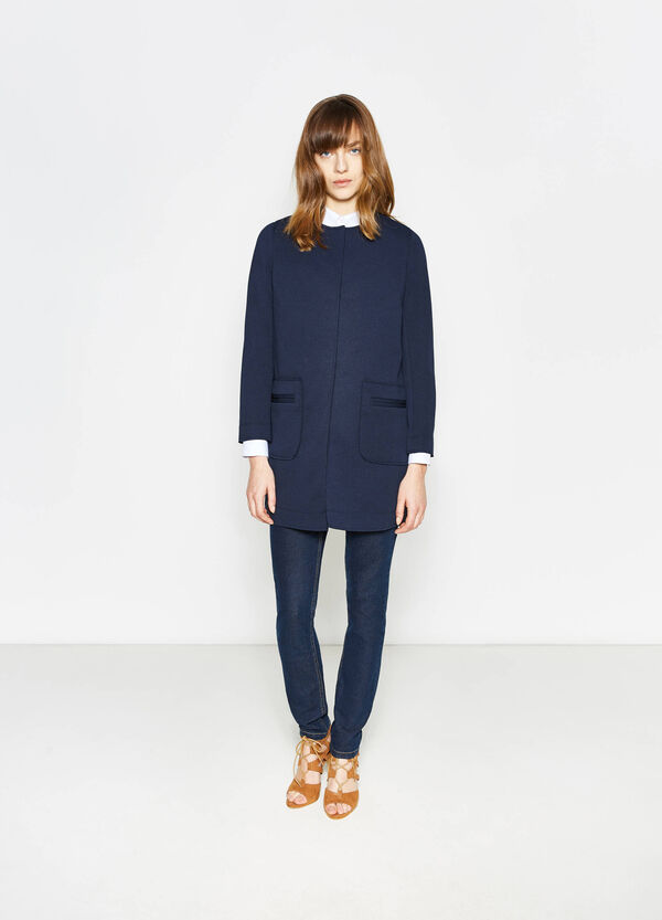 Stretch round neck coat | OVS