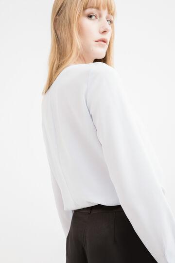 Blusa apertura a goccia con volants, Bianco, hi-res