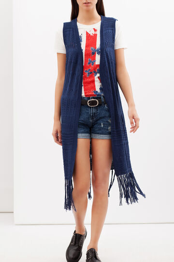 Long cardigan with fringe, Blue, hi-res