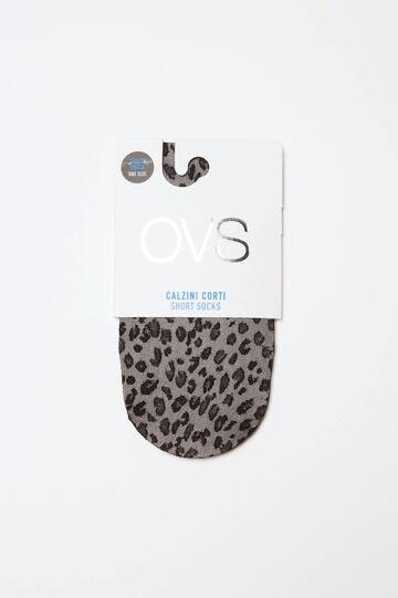 Short stretch animal-patterned pop socks, Black, hi-res