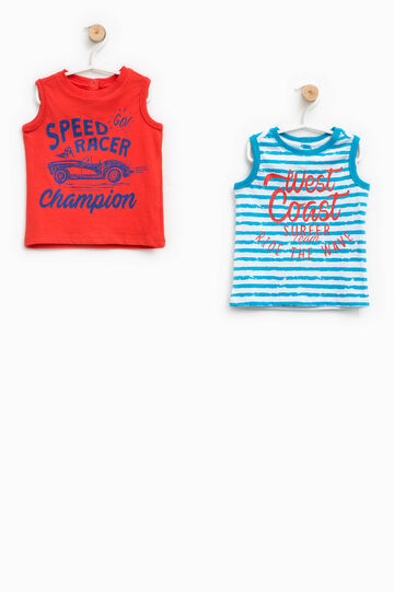 Two-pack printed and striped vests