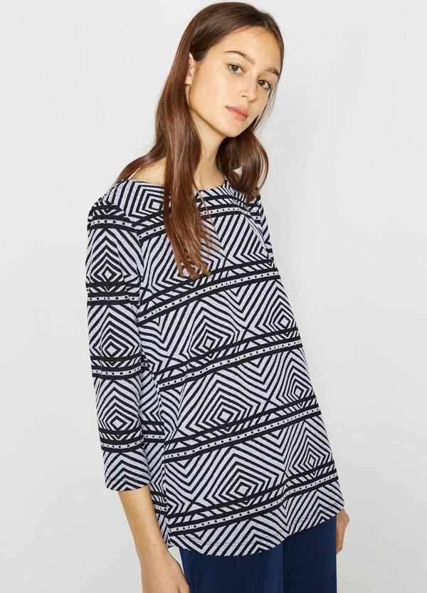 Cotton T-shirt with geometric pattern | OVS