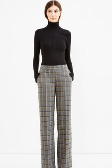 Stretch viscose trousers with check pattern, Black/Grey, hi-res