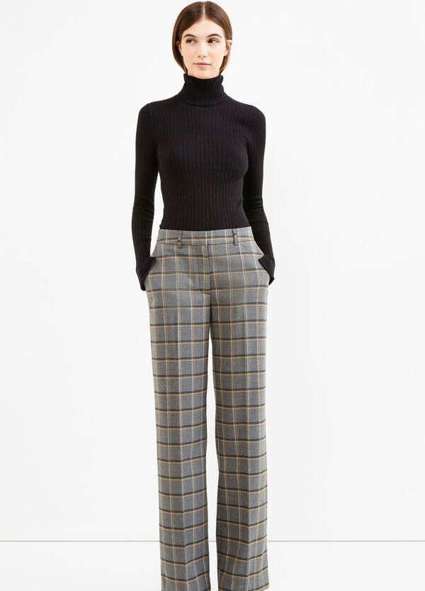 Stretch viscose trousers with check pattern | OVS