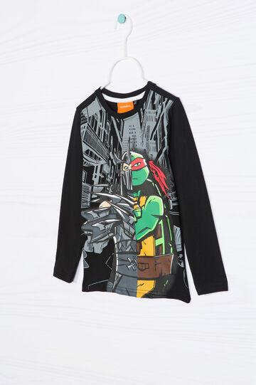 T-shirt puro cotone Ninja Turtles, Nero, hi-res