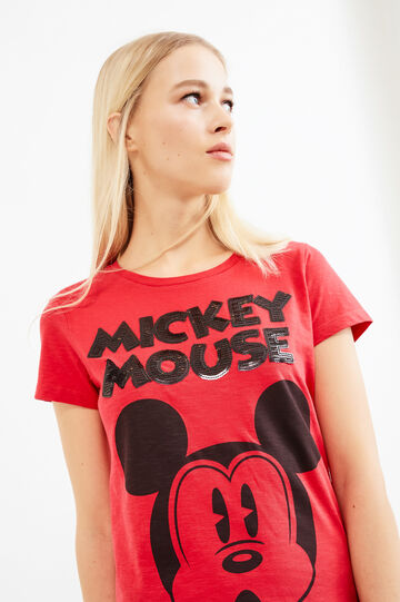 T-shirt with Mickey Mouse print and patch, Red, hi-res