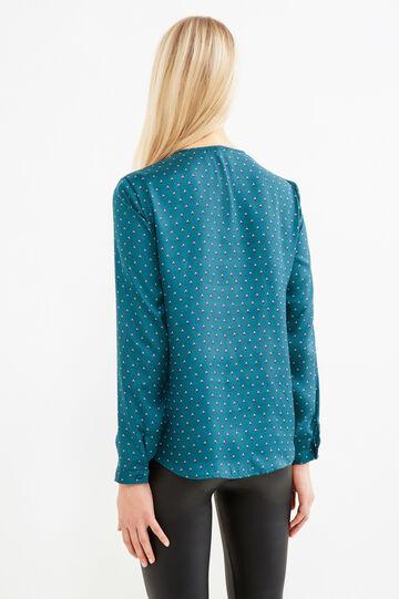 Printed blouse with tie, Petrol Blue, hi-res