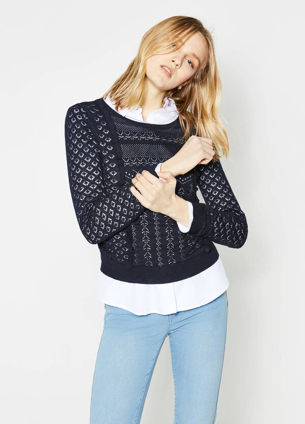 Short openwork pullover with flounces | OVS