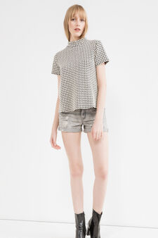 Ripped denim shorts, Ash Grey, hi-res