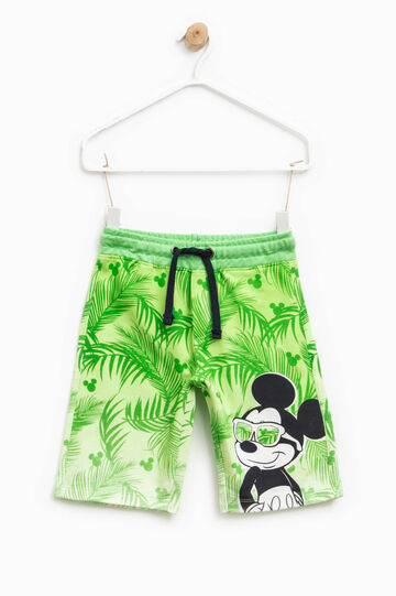 Patterned Bermuda shorts with Mickey Mouse print, Light Green, hi-res