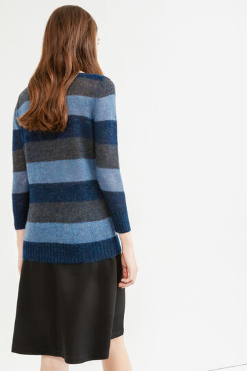 Striped viscose and mohair pullover, Blue/Light Blue, hi-res