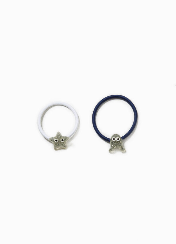 Set of two hair elastics with patch | OVS