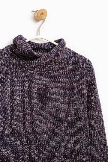 Cotton blend high neck pullover, Blue/Red, hi-res