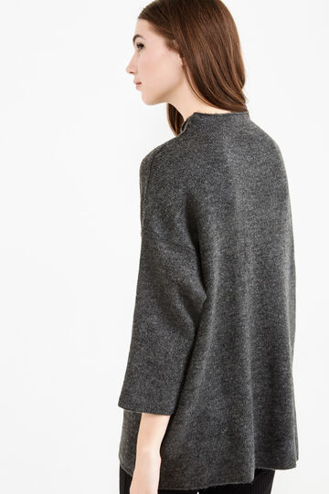High neck pullover with three-quarter sleeves, Grey Marl, hi-res