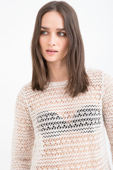 Cotton blend openwork T-shirt., Chalk White, hi-res