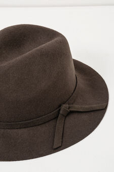 Wide-brim hat with bow, Brown, hi-res