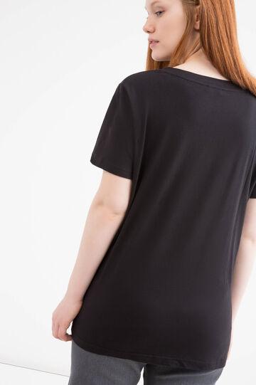 T-shirt cotone stampa Curvy, Nero, hi-res