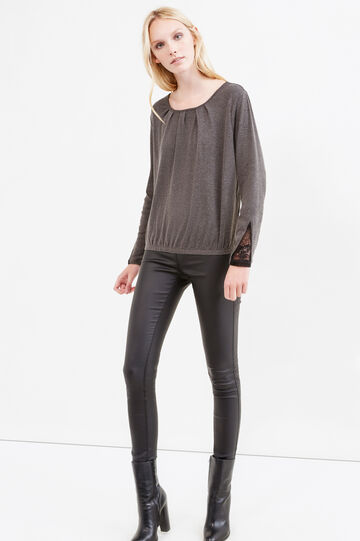 T-shirt with lace elasticated hem, Slate Grey, hi-res