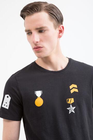 T-shirt con stampa puro cotone, Nero/Giallo, hi-res