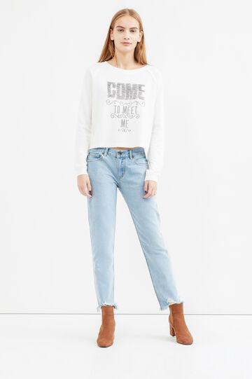 100% cotton sweatshirt with fringes, Ecru Brown, hi-res