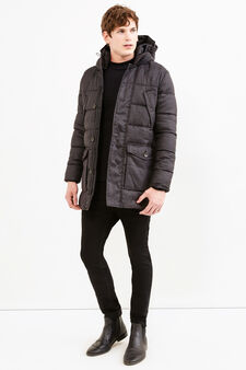 Jacket with high neck and hood., Slate Grey, hi-res