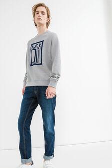 Cotton blend printed sweatshirt, Light Grey, hi-res