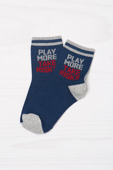 Two-pair pack of printed socks, Navy Blue, hi-res