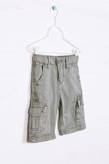 Solid colour 100% cotton Bermuda cargo shorts, Green, hi-res