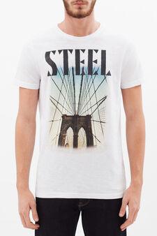 T-shirt girocollo puro cotone, Bianco sporco, hi-res
