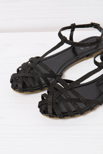 Solid colour sandals with glitter, Black, hi-res