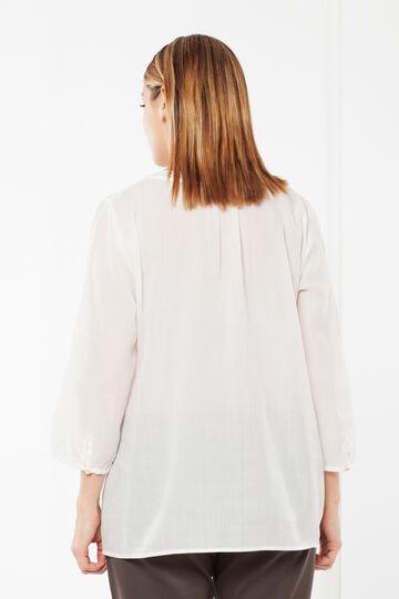 Blusa Curvy con scollo traforato, Bianco, hi-res